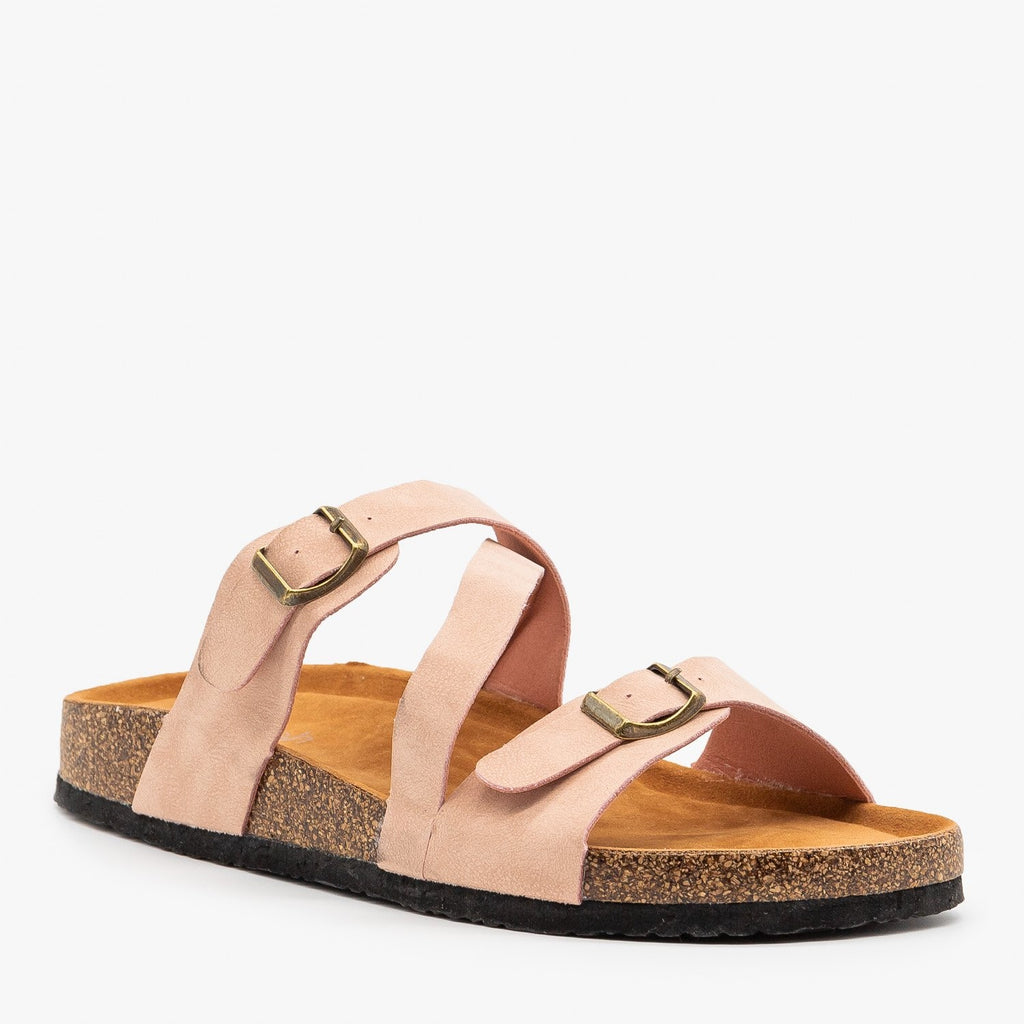 Womens Diagonal Strap Buckled Sandals - Refresh