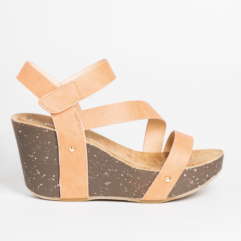 Womens Diagonal Strap Platform Wedges - Refresh - Camel / 5