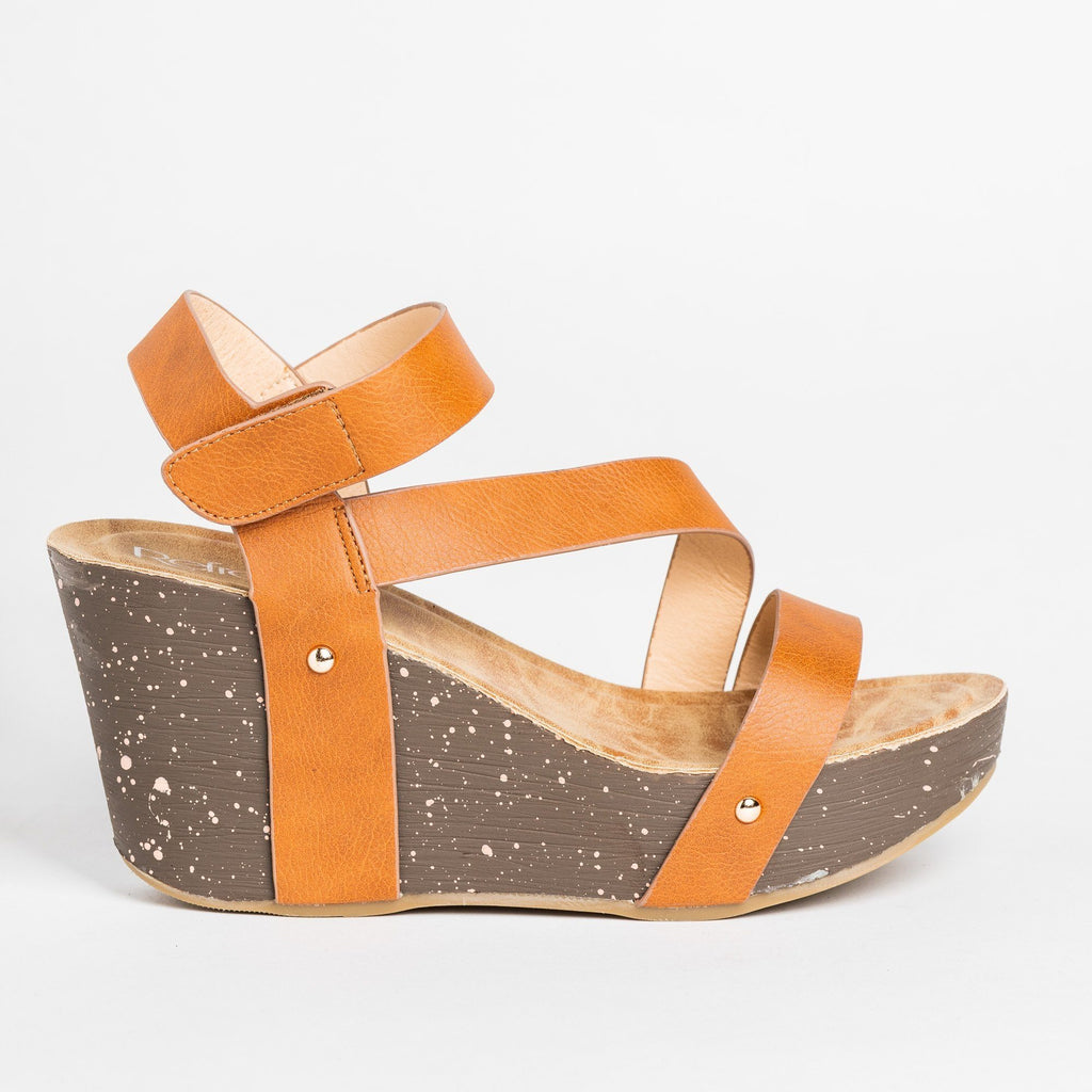 Womens Diagonal Strap Platform Wedges - Refresh - Tan / 5