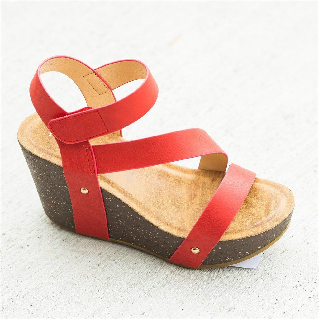 Womens Diagonal Strap Platform Wedges - Refresh - Red / 5