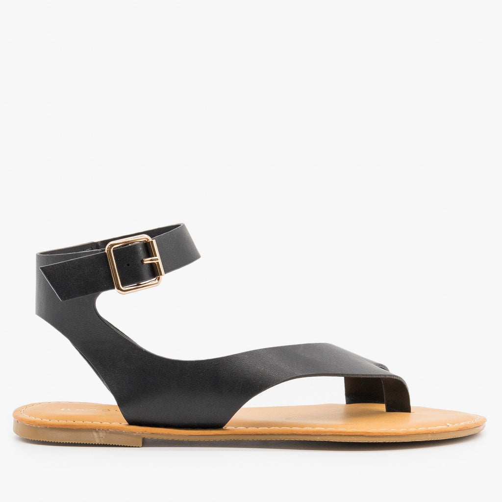 Womens Diagonal Strap Sandals - Bamboo Shoes - Black / 5