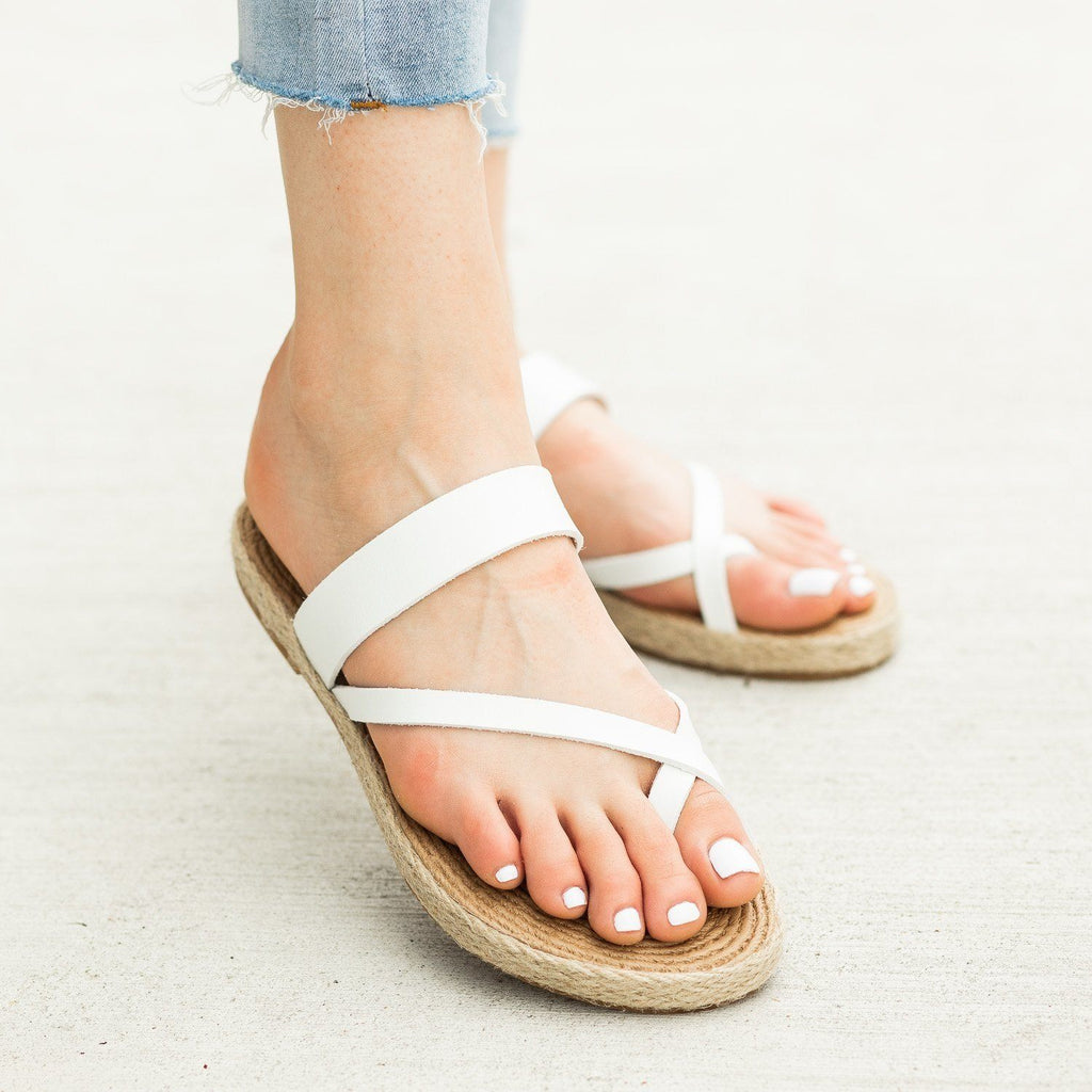 Womens Diagonal Strap Slip-On Espadrille Sandals - Soda Shoes