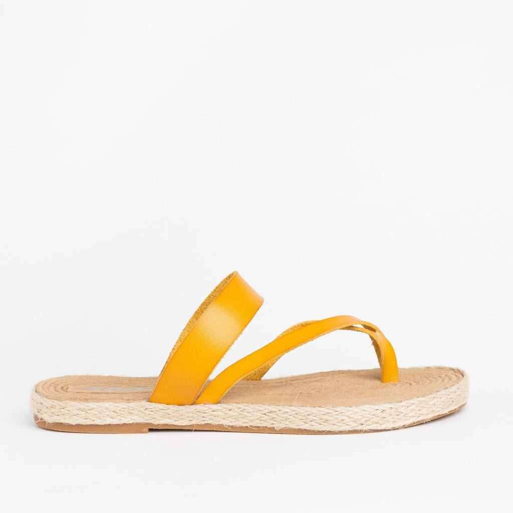 Womens Diagonal Strap Slip-On Espadrille Sandals - Soda Shoes - Mustard / 5