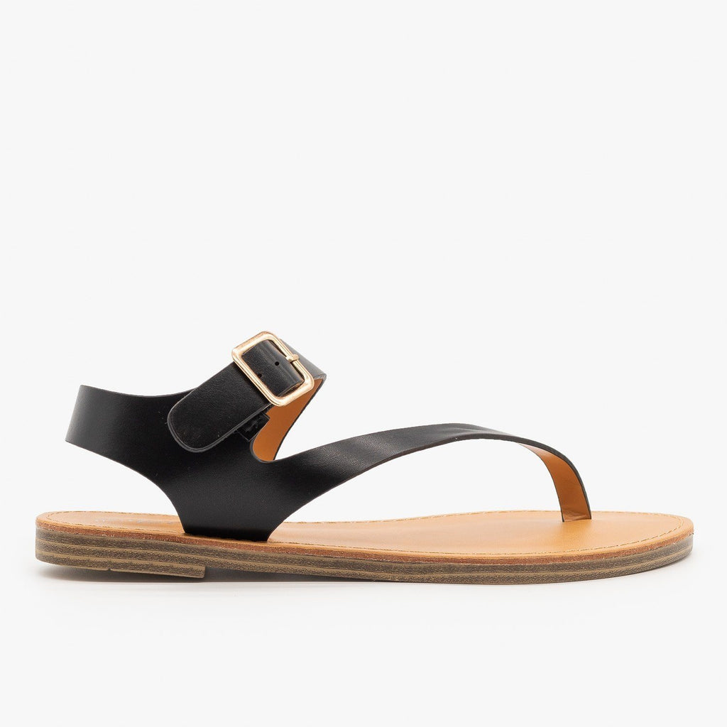 Womens Diagonal Strap Thong-Toed Sandals - Weeboo - Black / 5