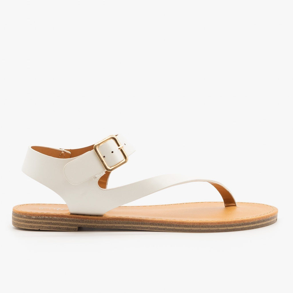 Womens Diagonal Strap Thong-Toed Sandals - Weeboo - White / 5