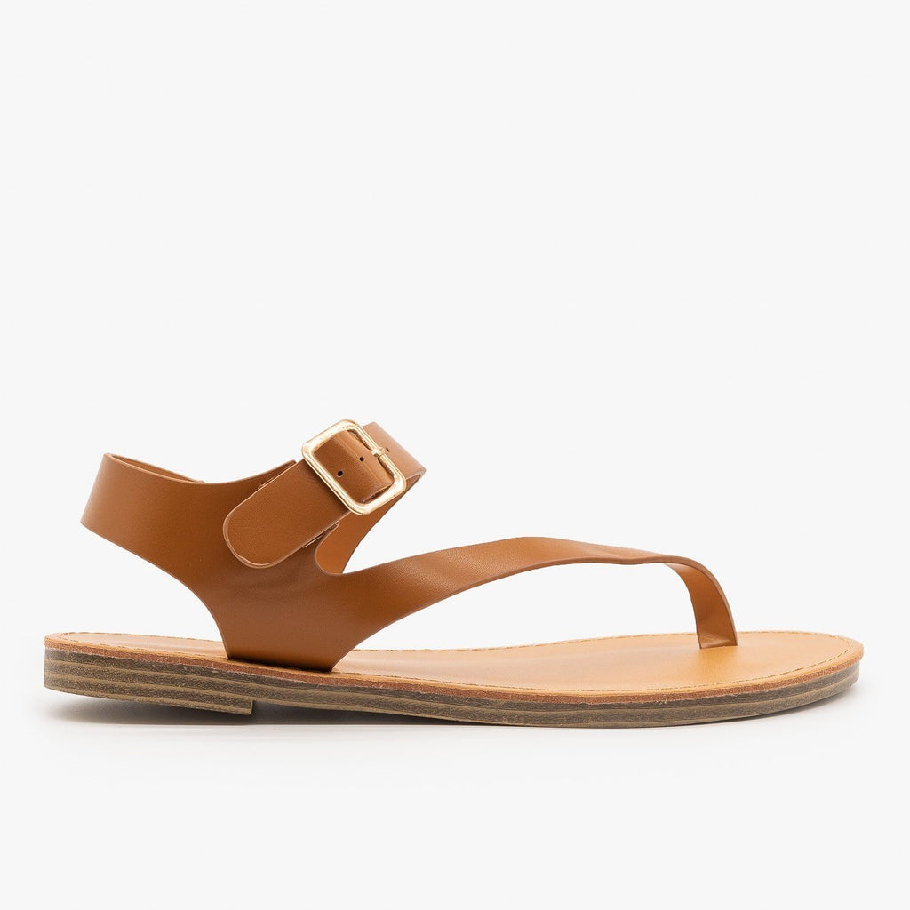 Womens Diagonal Strap Thong-Toed Sandals - Weeboo - Cognac / 5