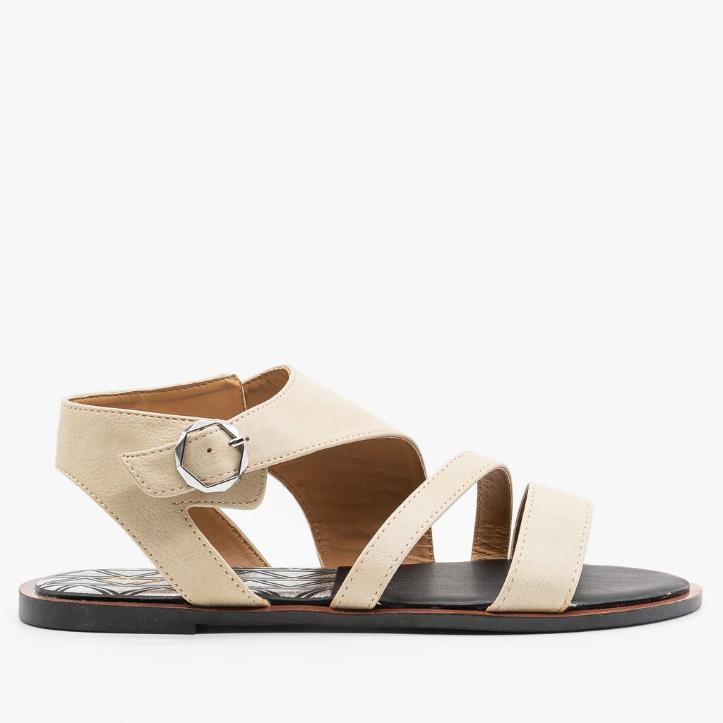 Womens Diagonal Strappy Sandals - Qupid Shoes