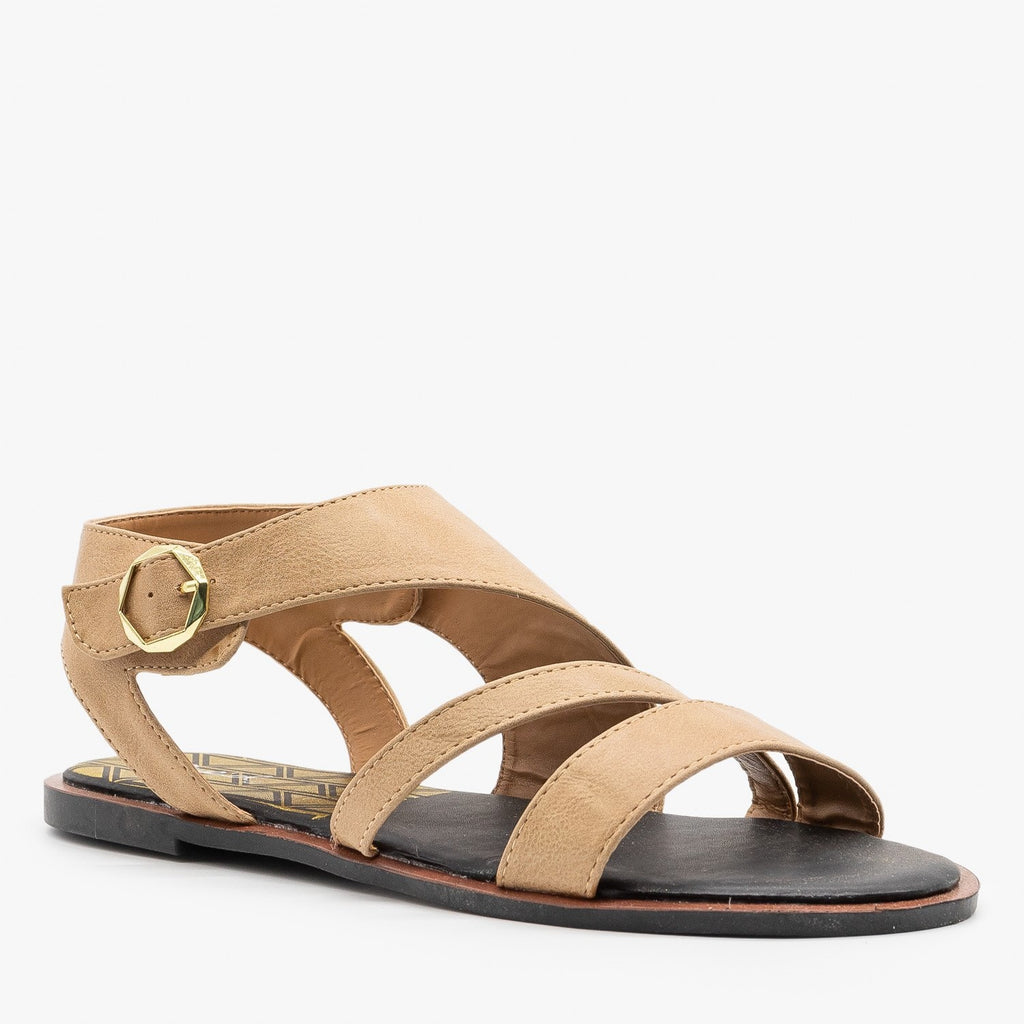 Womens Diagonal Strappy Sandals - Qupid Shoes - Camel / 5