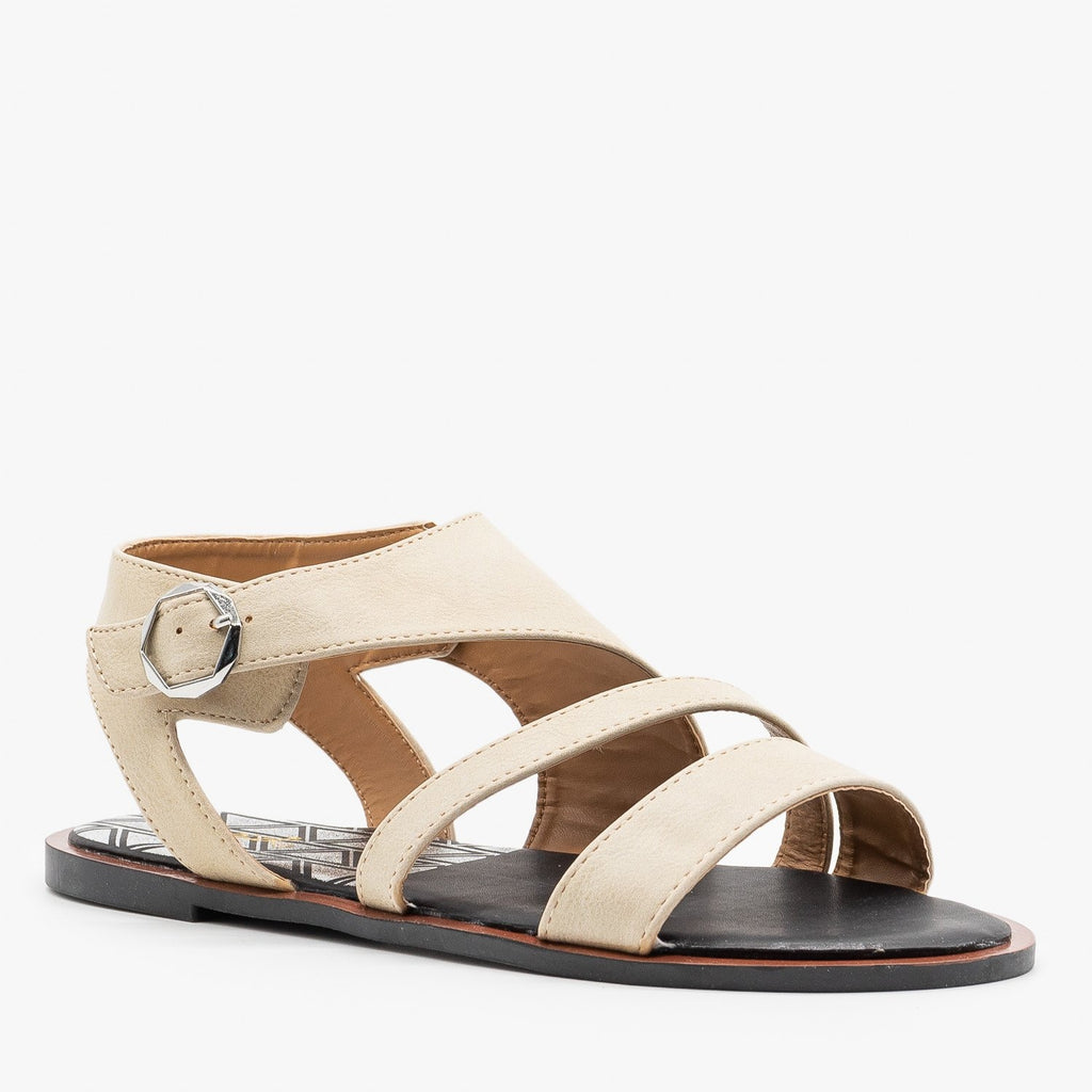 Womens Diagonal Strappy Sandals - Qupid Shoes - Beige / 5