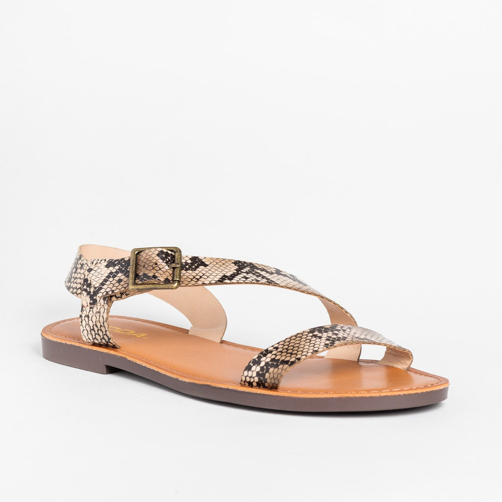 Womens Diagonal Wraparound Strap Sandals - Soda Shoes - Natural Python / 5