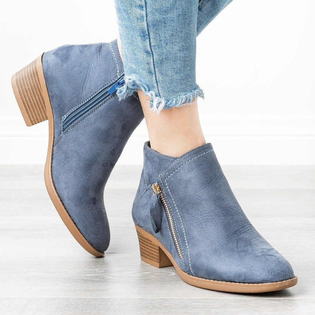 Womens Diagonal Zipper Booties - ARider Girl - Blue / 5