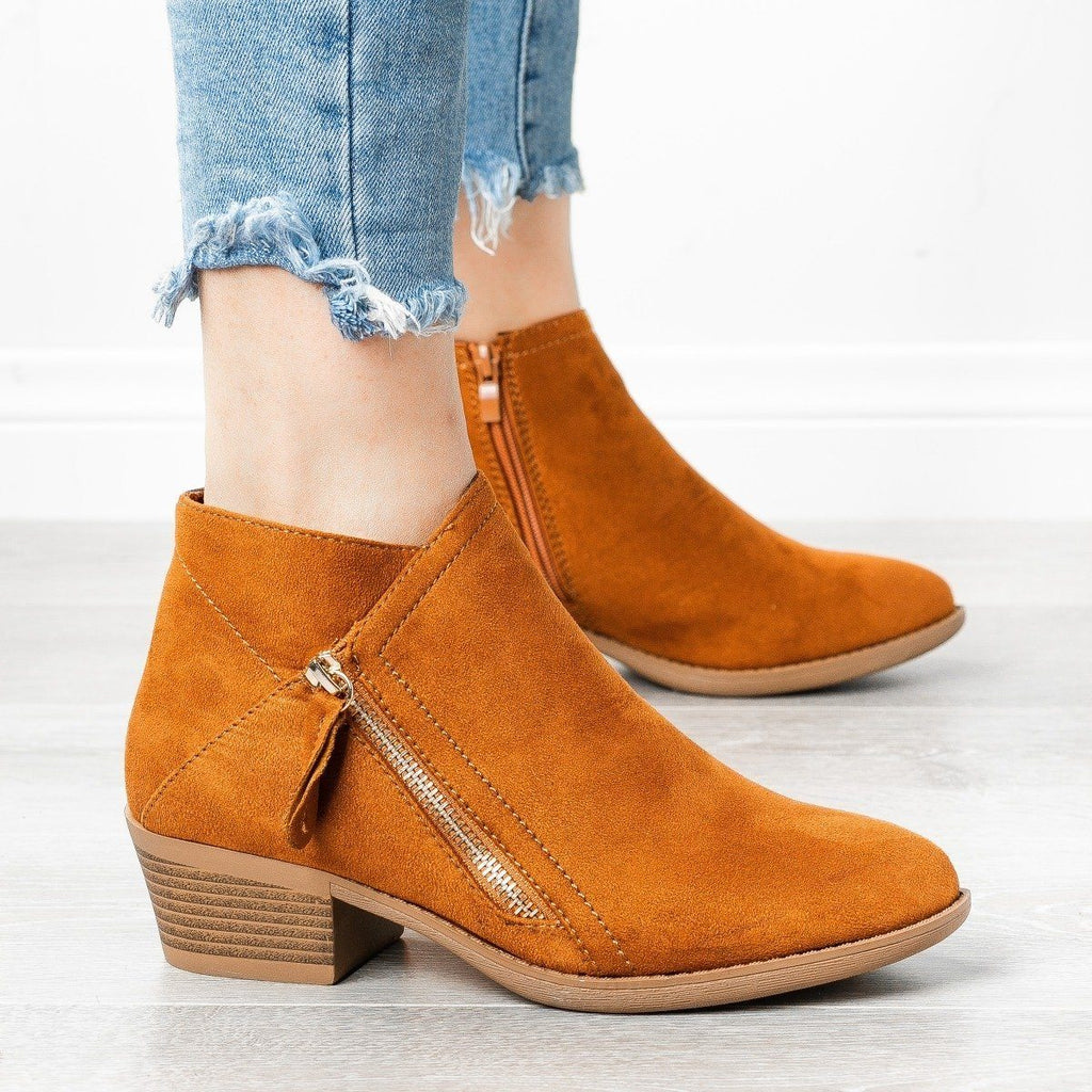 Womens Diagonal Zipper Booties - ARider Girl