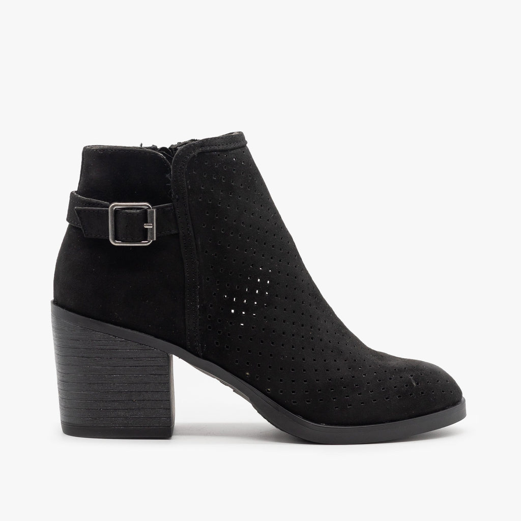 Womens Diamond Back Buckle Booties - Bamboo Shoes - Black / 5