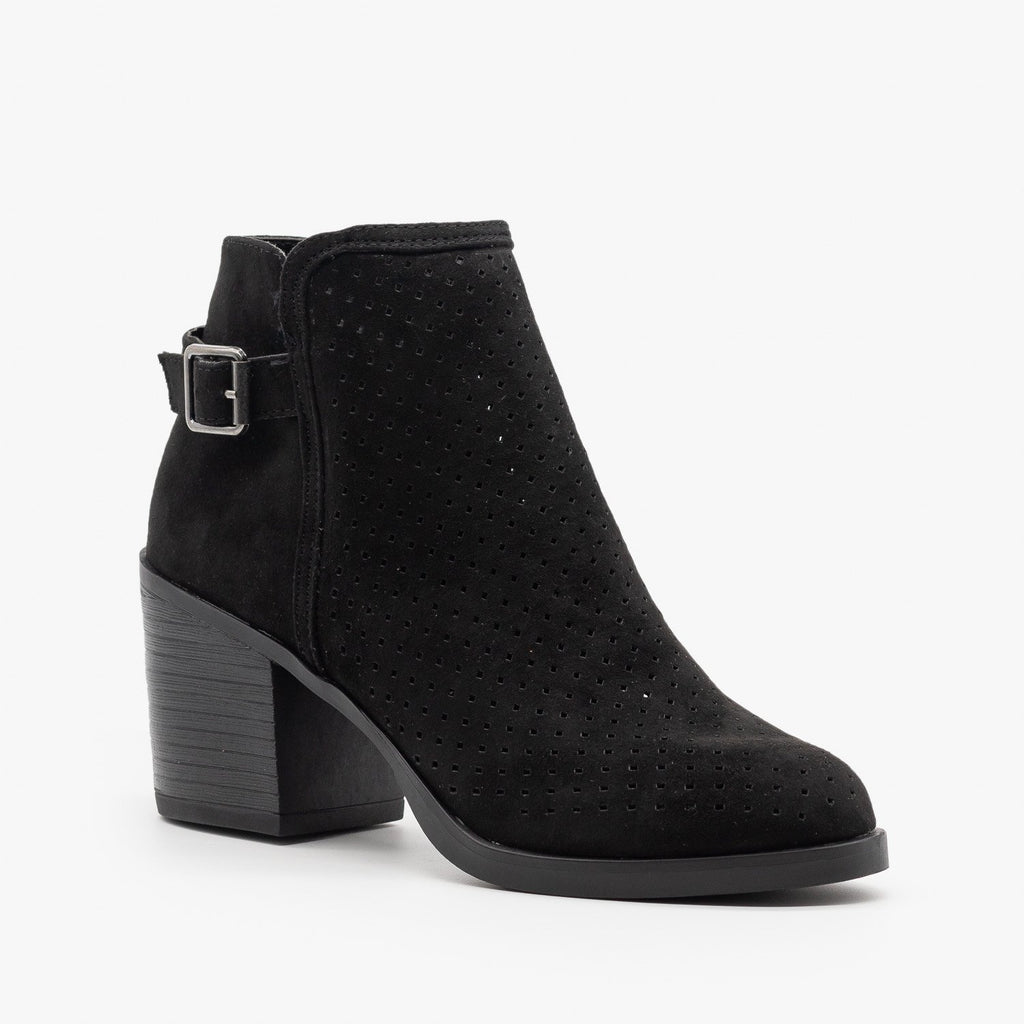 Womens Diamond Back Buckle Booties - Bamboo Shoes