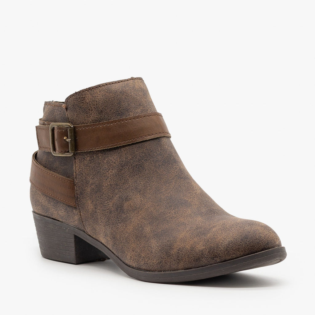 Womens Distressed Belted Ankle Booties - Bamboo Shoes