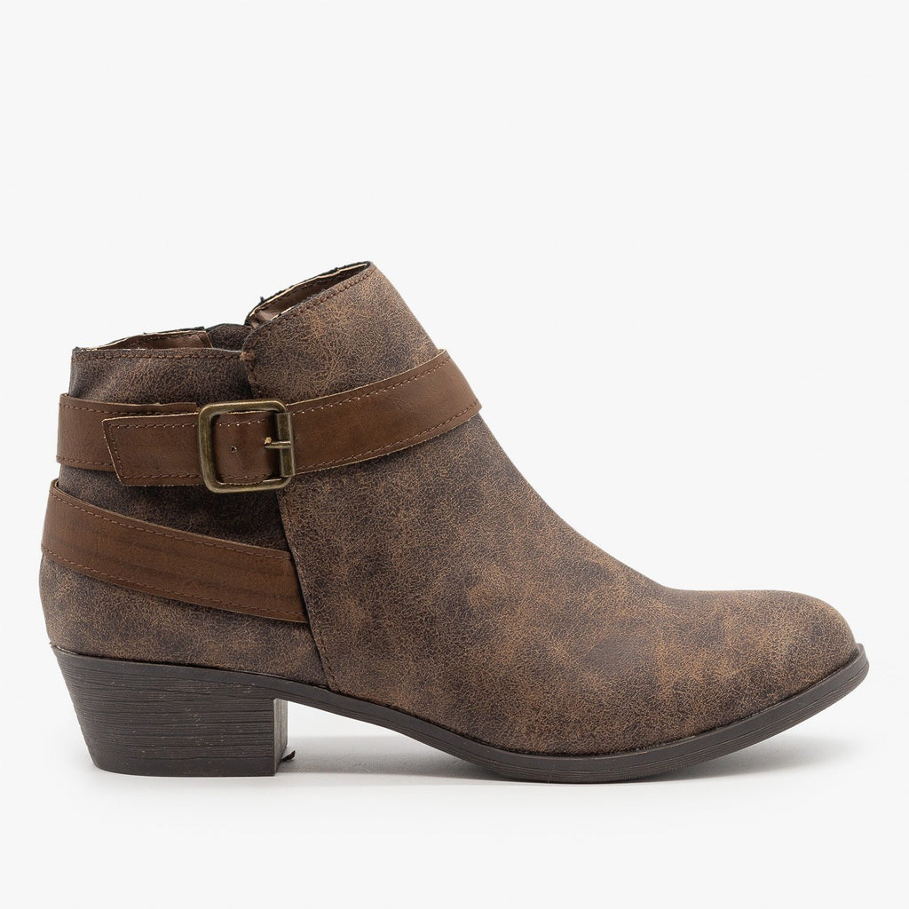 Womens Distressed Belted Ankle Booties - Bamboo Shoes - Brown / 5