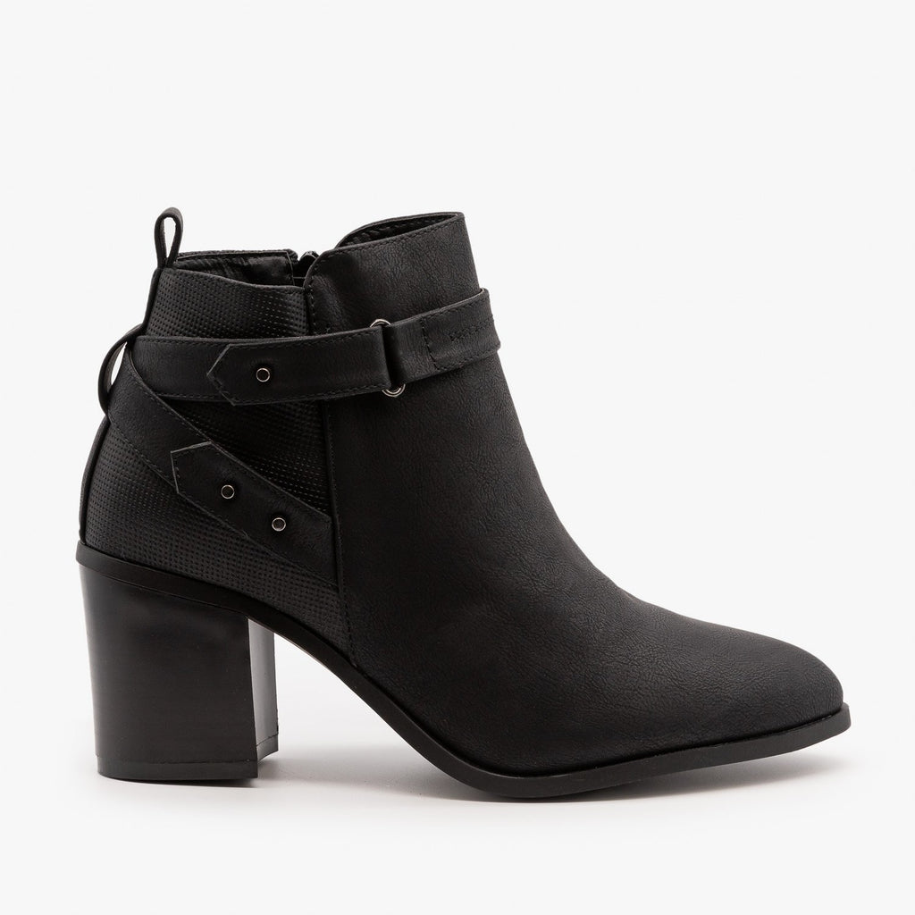 Womens Distressed Belted Ankle Booties - Refresh - Black / 5