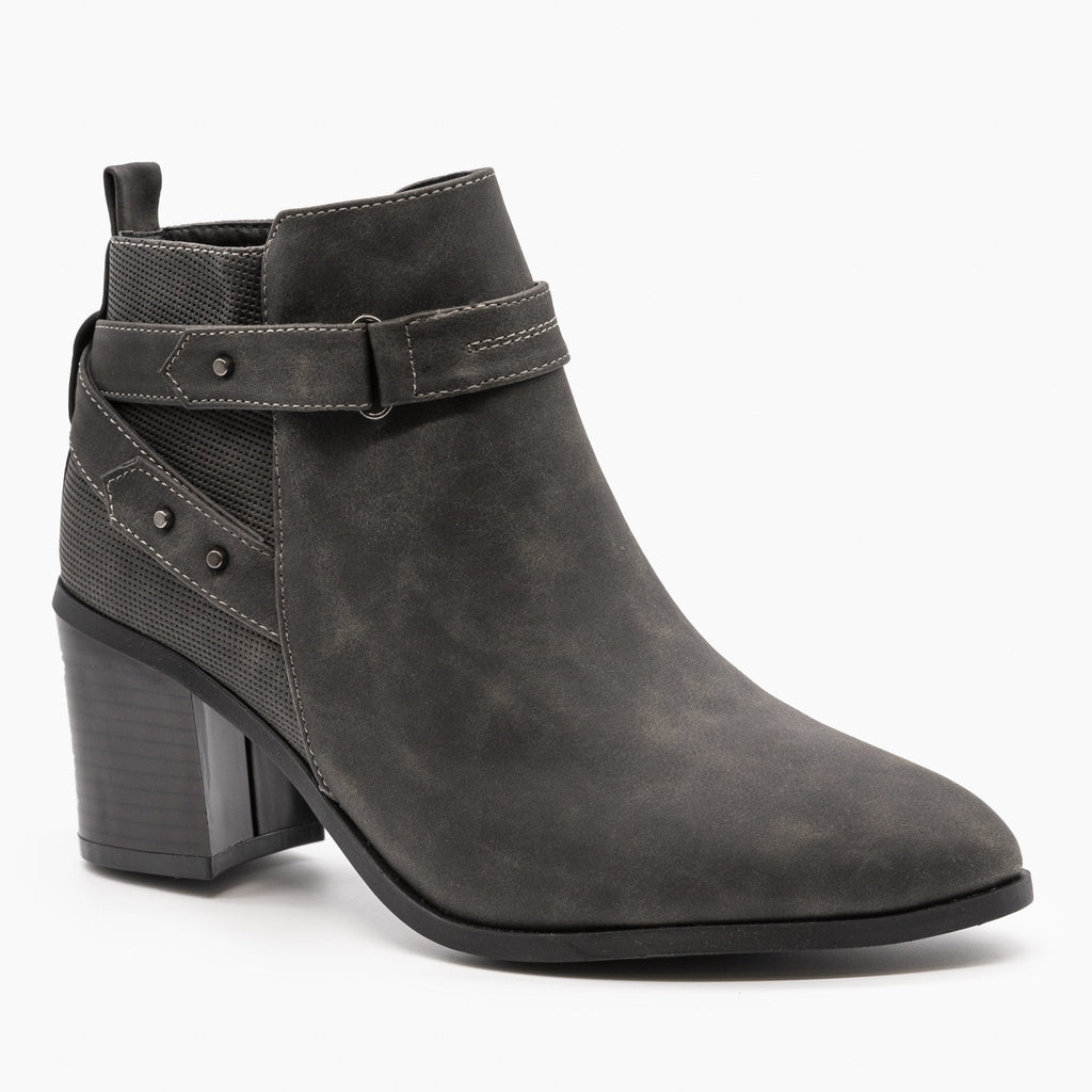 Womens Distressed Belted Ankle Booties - Refresh - Charcoal / 5
