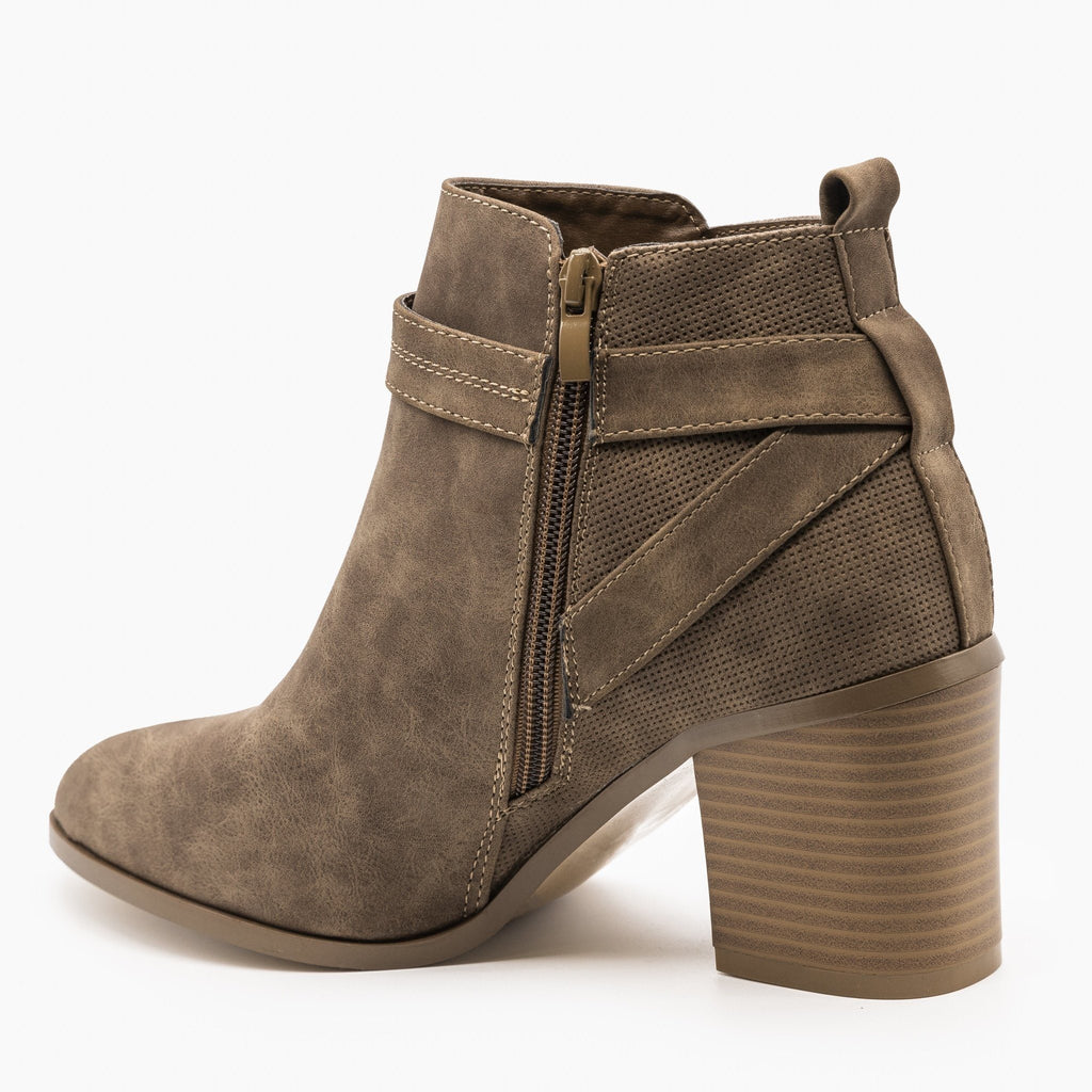 Womens Distressed Belted Ankle Booties - Refresh