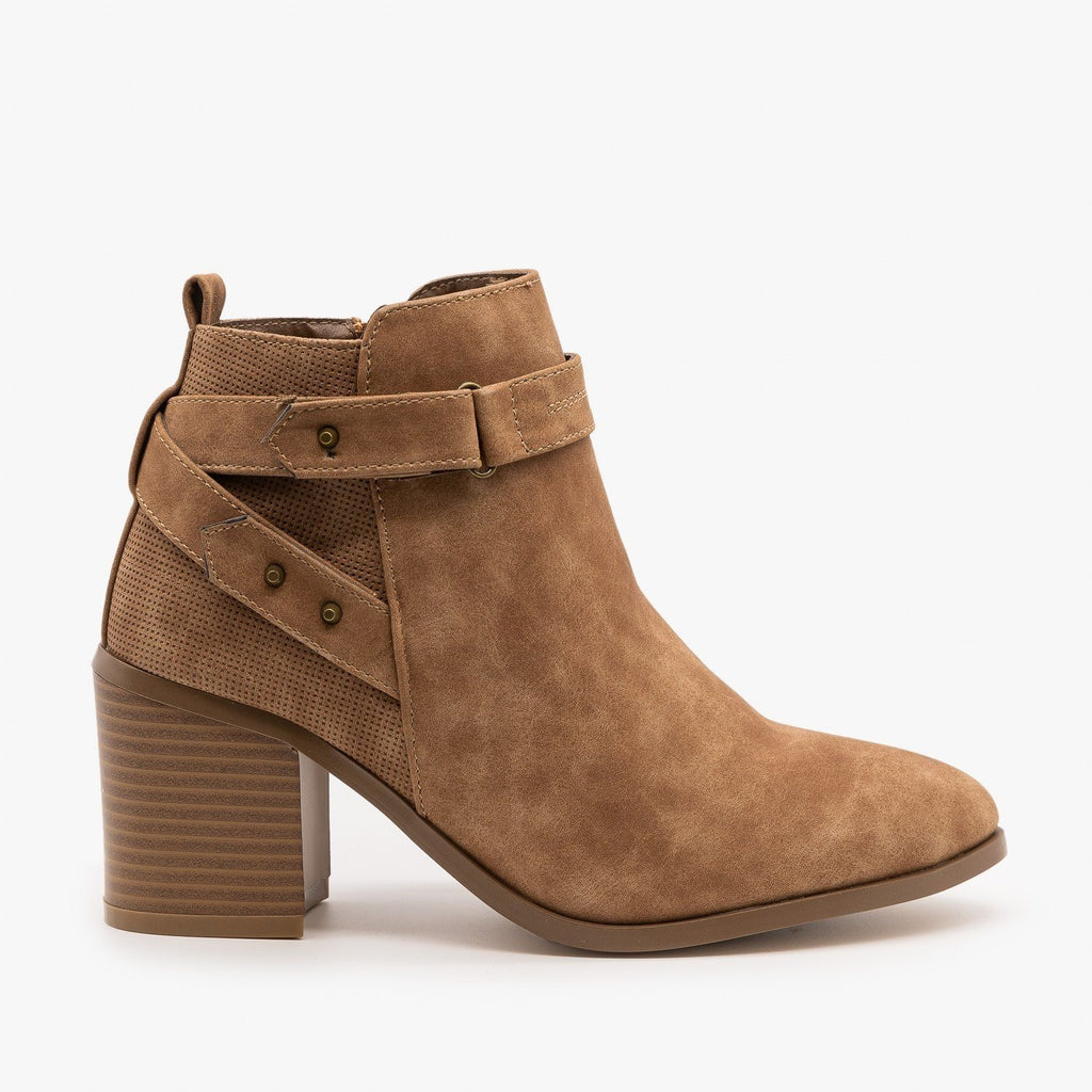 Womens Distressed Belted Ankle Booties - Refresh - Tan / 5