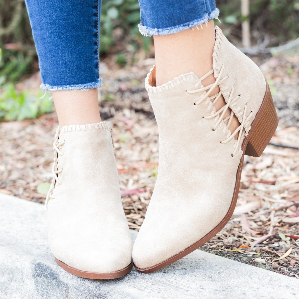 Womens Distressed Cinched Booties - Qupid Shoes