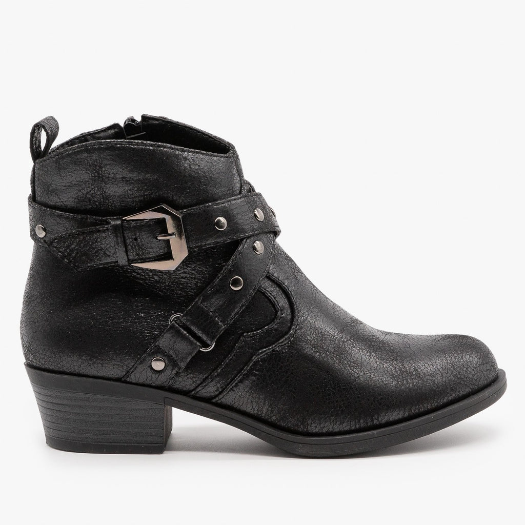 Womens Distressed Criss Cross Strap Booties - Mark & Maddux - Black / 5