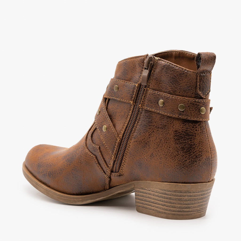 Womens Distressed Criss Cross Strap Booties - Mark & Maddux