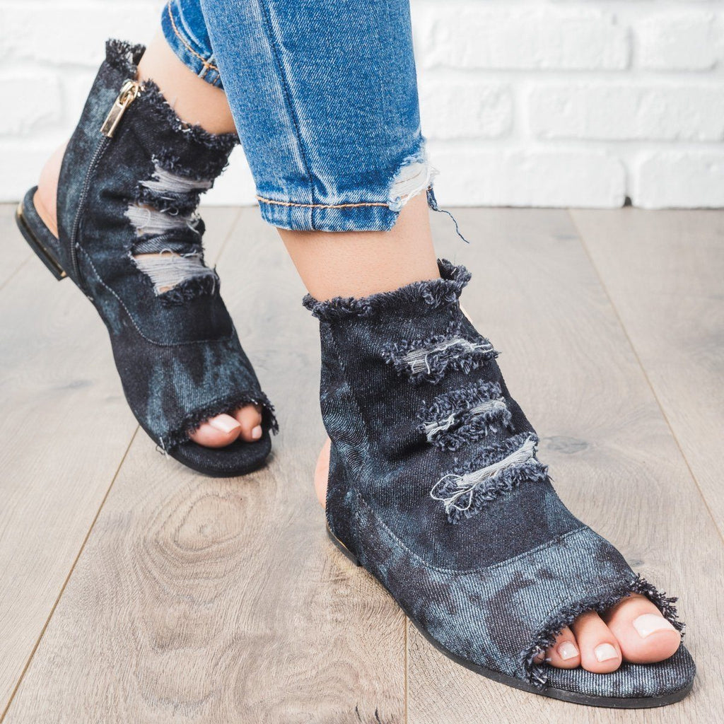 Womens Distressed Denim Booties - Bamboo Shoes - Black / 7
