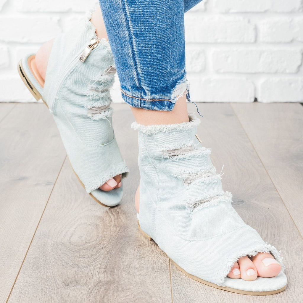 Womens Distressed Denim Booties - Bamboo Shoes