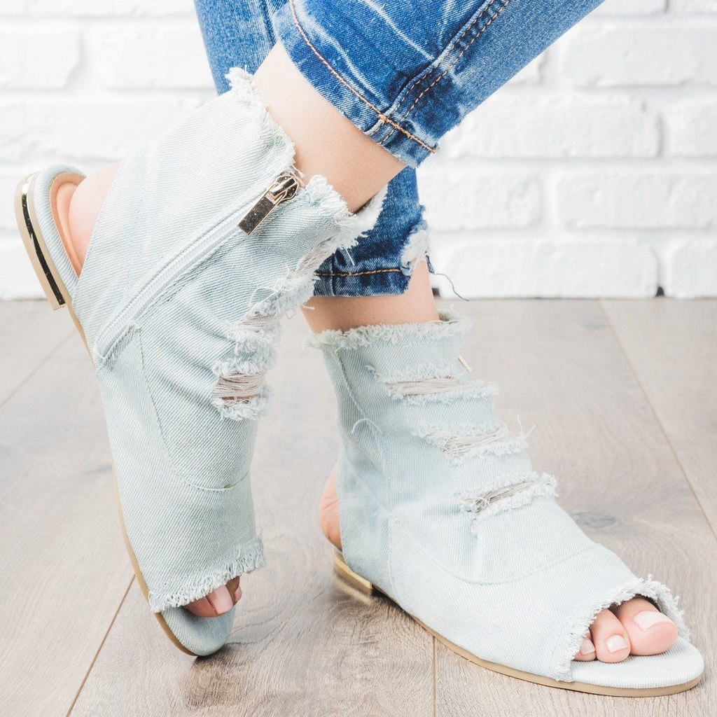 Womens Distressed Denim Booties - Bamboo Shoes - Light Blue / 5