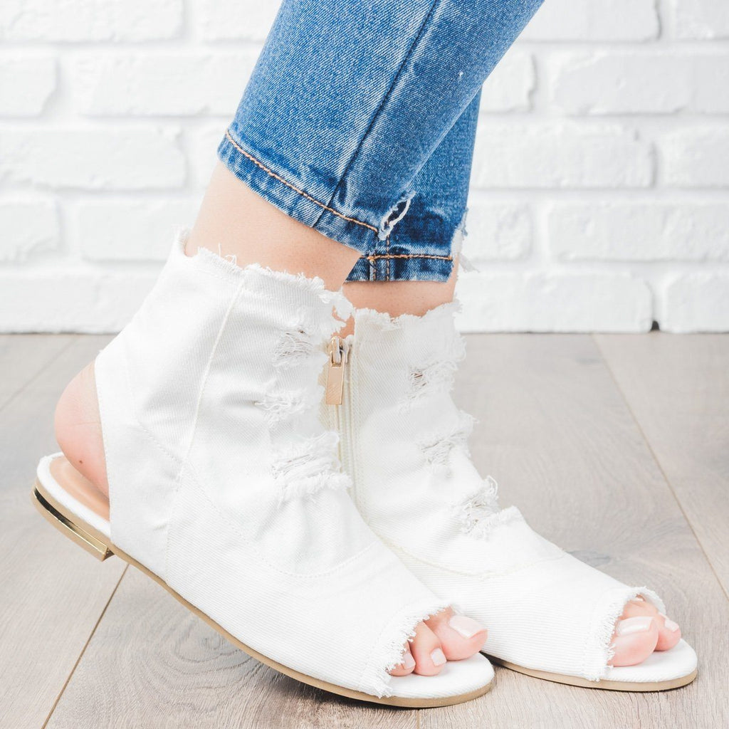 Womens Distressed Denim Booties - Bamboo Shoes - White / 5