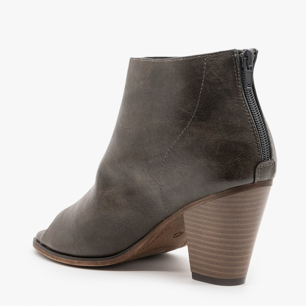 Womens Distressed Faux Leather Open Toe Booties - Mata