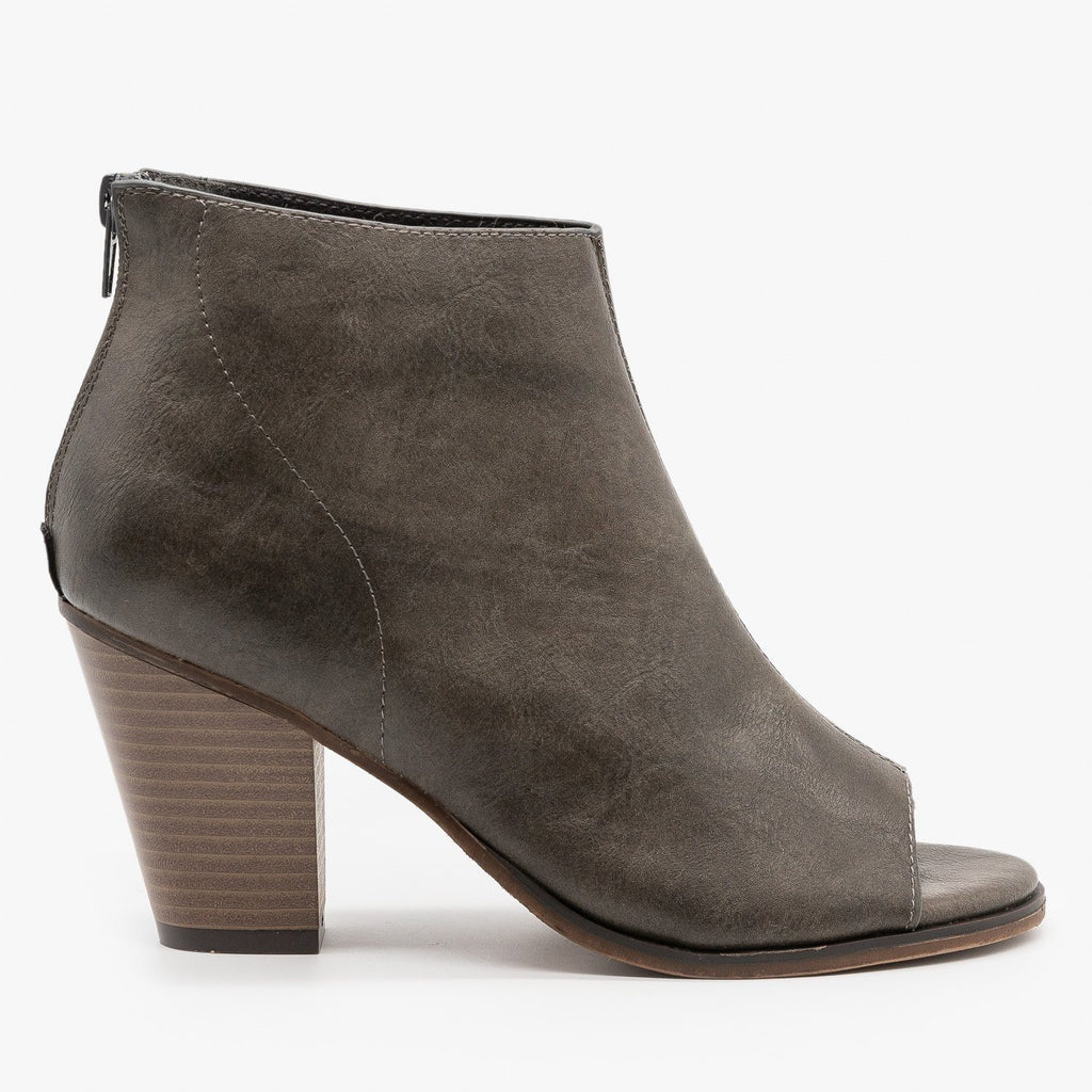 Womens Distressed Faux Leather Open Toe Booties - Mata - Gray / 5