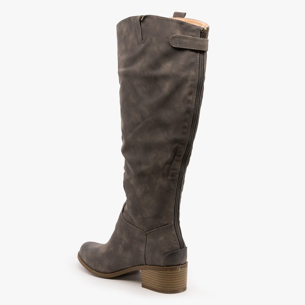 Womens Distressed Riding Boots - AMS Shoes