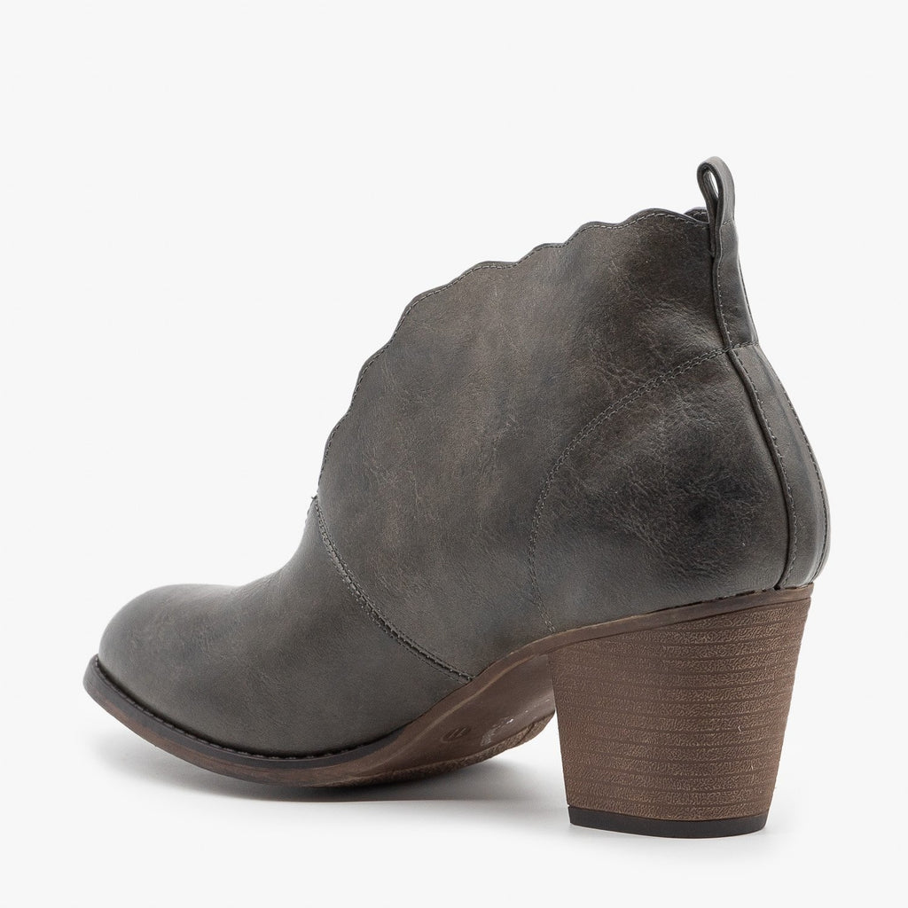 Womens Distressed Scalloped Edge Booties - Mata