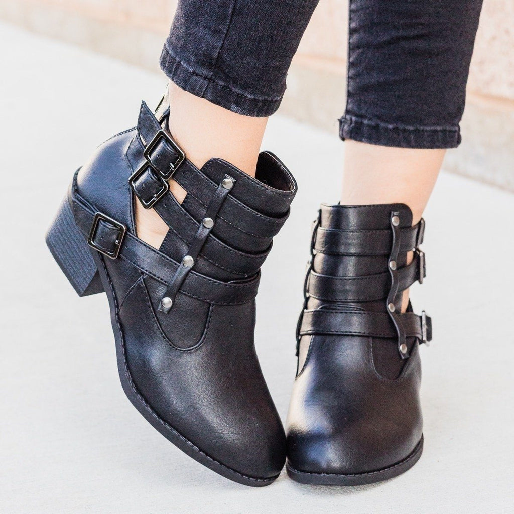 Womens Distressed Triple Buckle Bootie - Forever - Black / 6.5