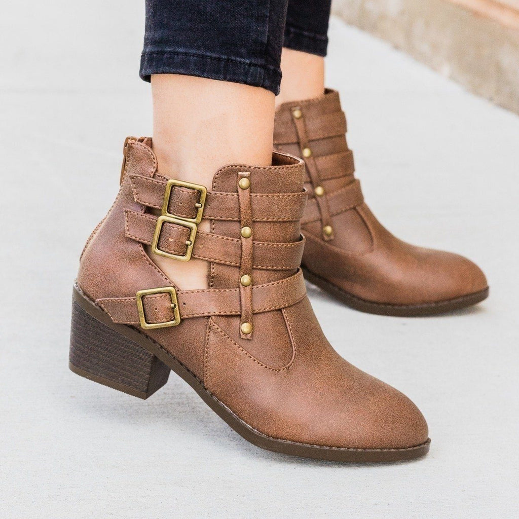Womens Distressed Triple Buckle Bootie - Forever