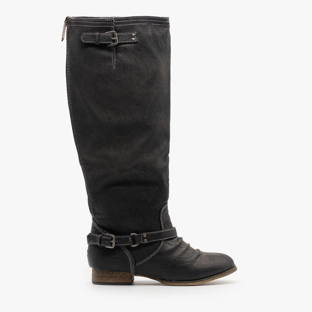 Womens Distressed Western Riding Boots - Breckelles - Black / 5