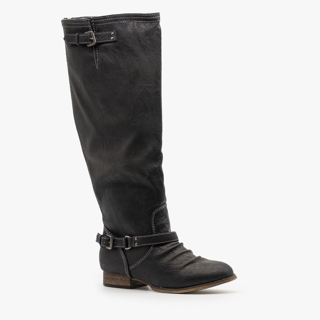 Womens Distressed Western Riding Boots - Breckelles