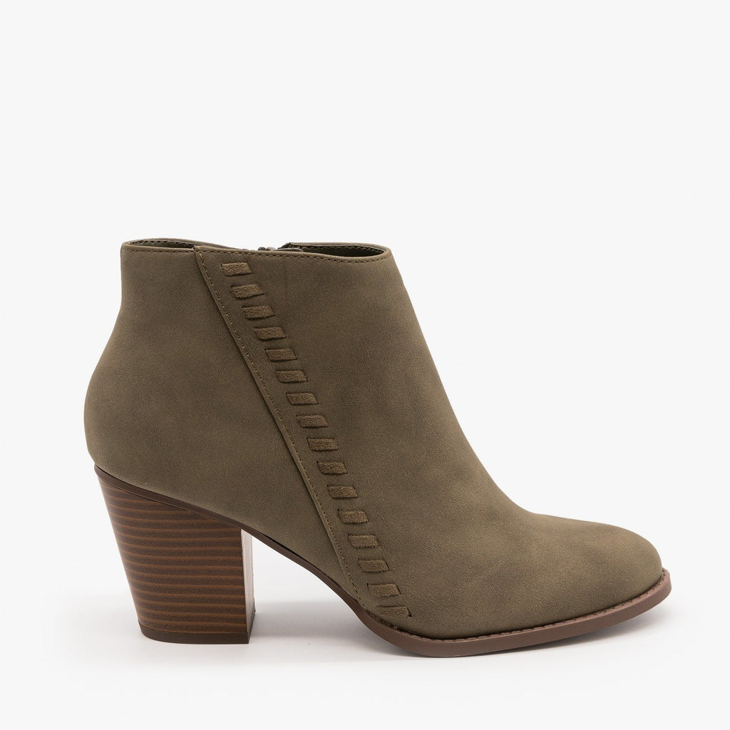 Womens Distressed Woven Ankle Booties - City Classified Shoes - Light Olive / 5