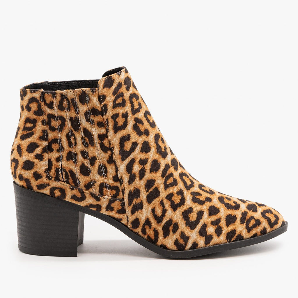 Womens Diva Ankle Booties - Qupid Shoes - Camel Leopard / 5