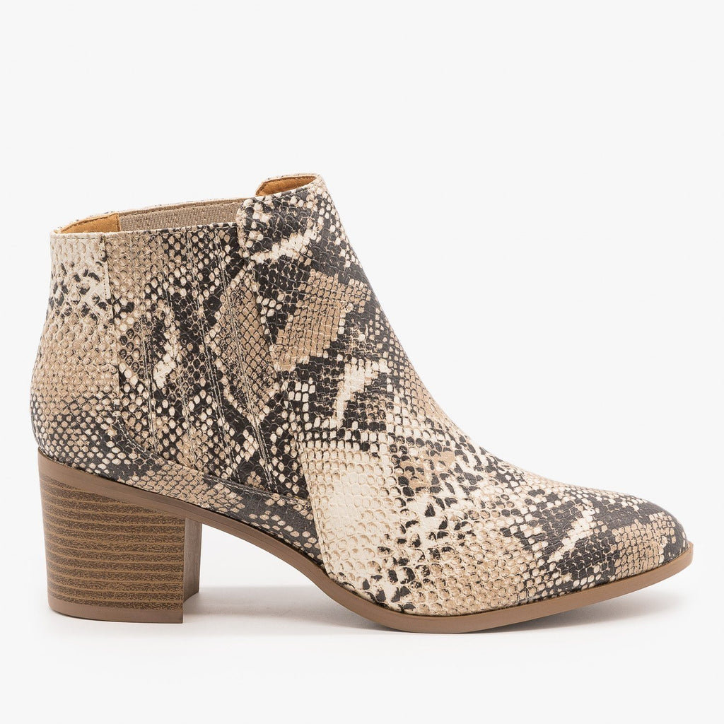 Womens Diva Ankle Booties - Qupid Shoes - Beige Brown Snake / 5
