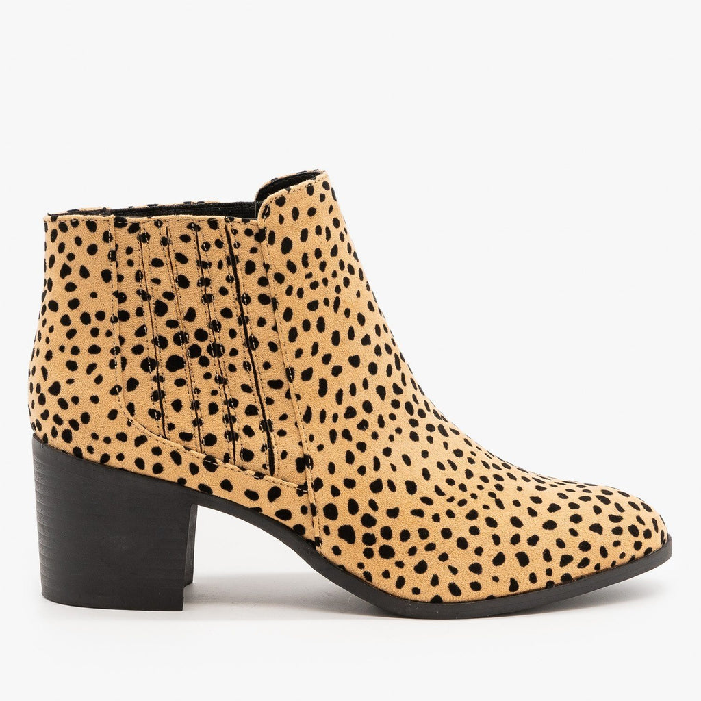 Womens Diva Leopard Print Ankle Booties - Qupid Shoes - Tan Black Leopard / 5