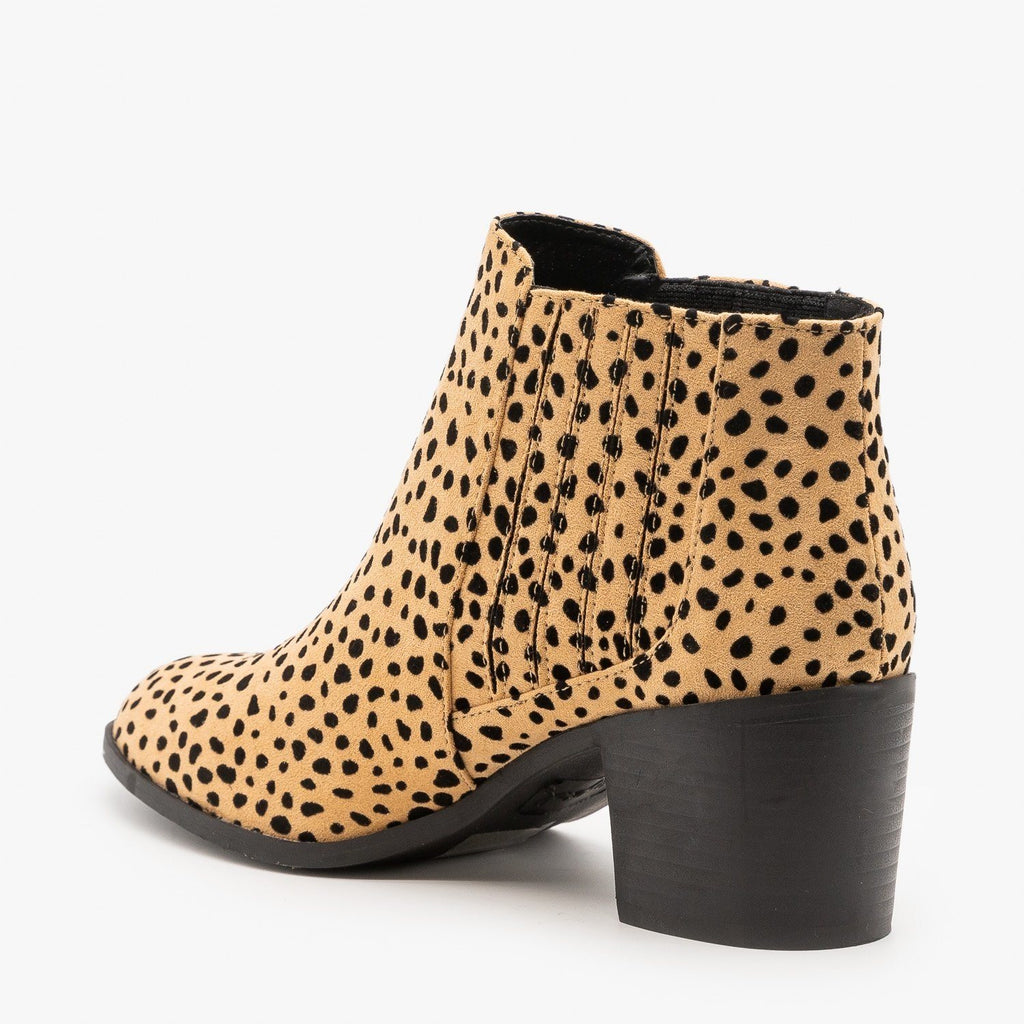 Womens Diva Leopard Print Ankle Booties - Qupid Shoes