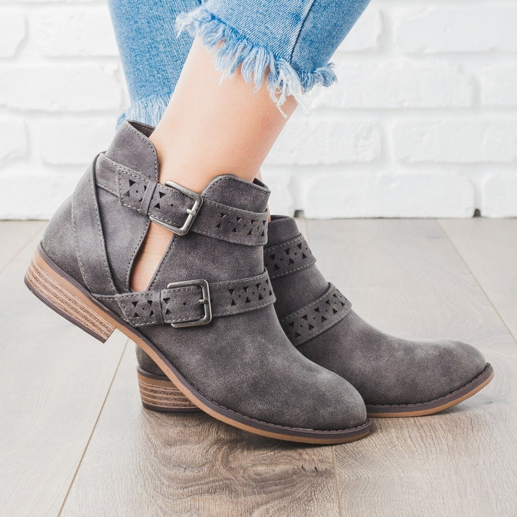 Womens Double Belted Bootie - City Classified Shoes - Dark Gray / 5
