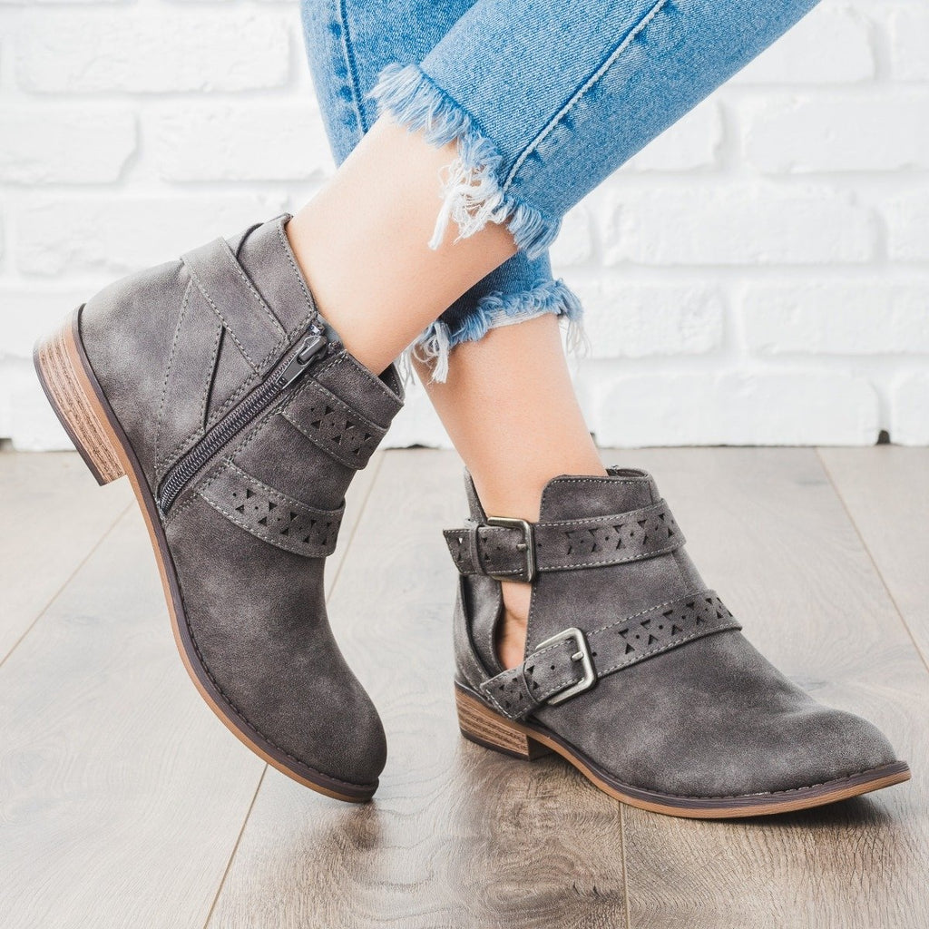 Womens Double Belted Bootie - City Classified Shoes