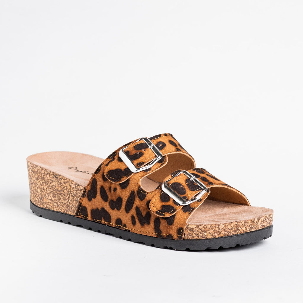 Womens Double Buckle Cork Sandal Wedges - Qupid Shoes - Leopard / 5