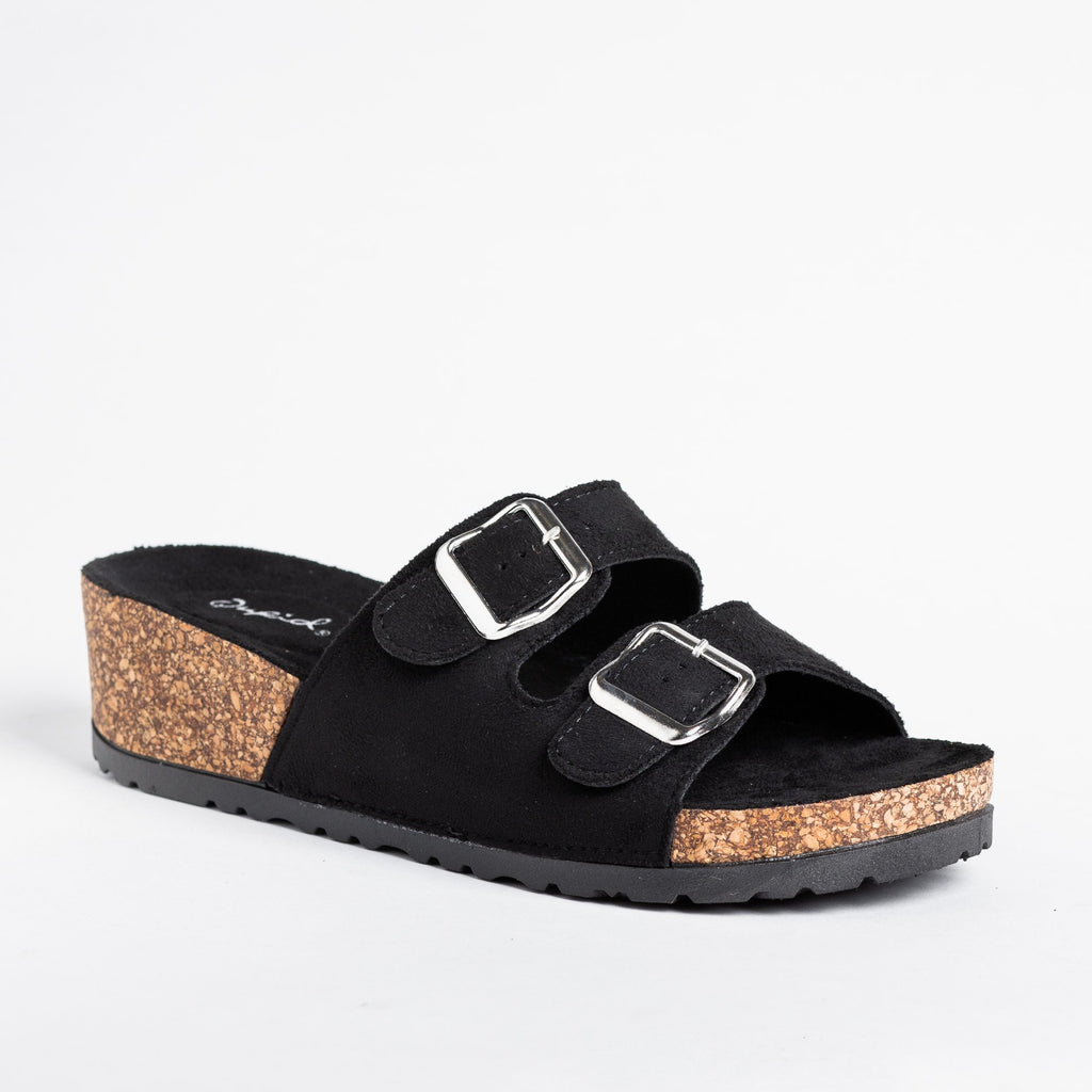 Womens Double Buckle Cork Sandal Wedges - Qupid Shoes - Black / 5
