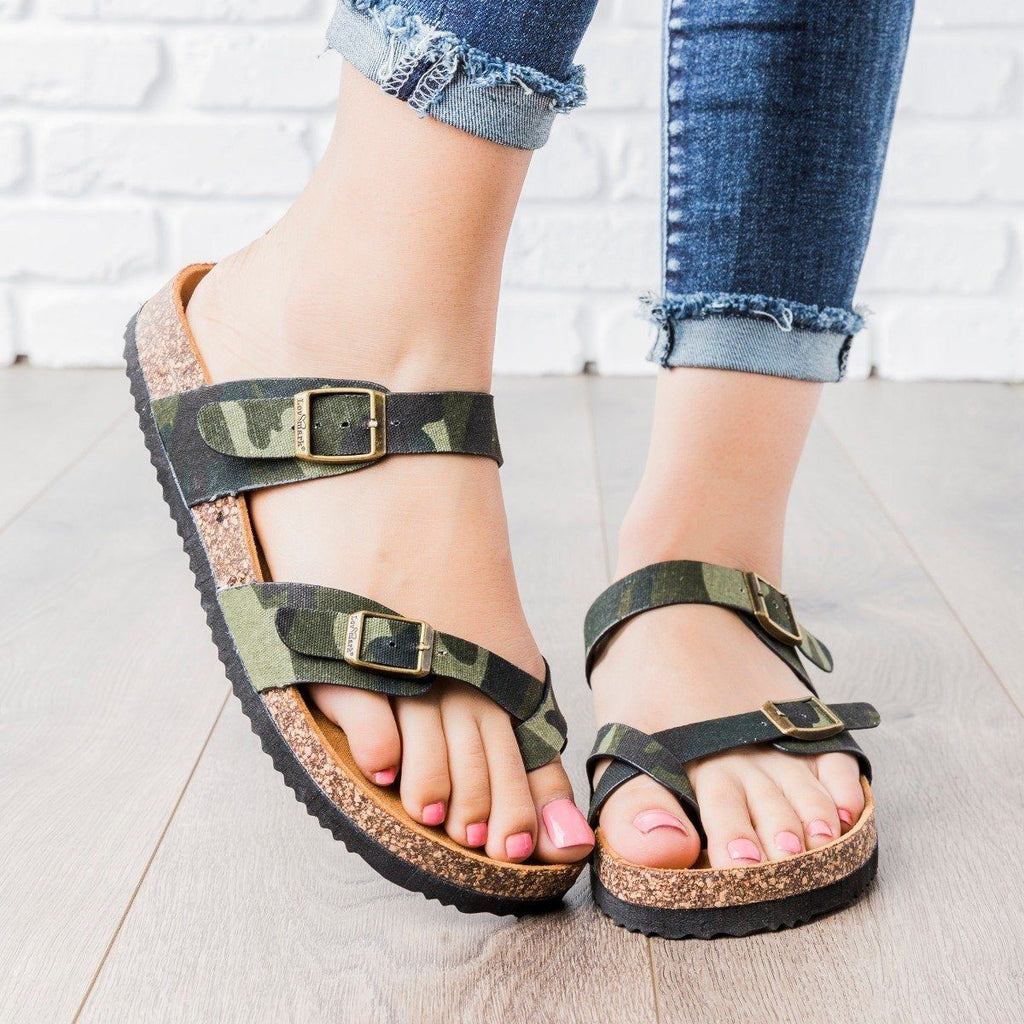 Womens Double Buckle Cork Slides - Anna Shoes - Camo / 6