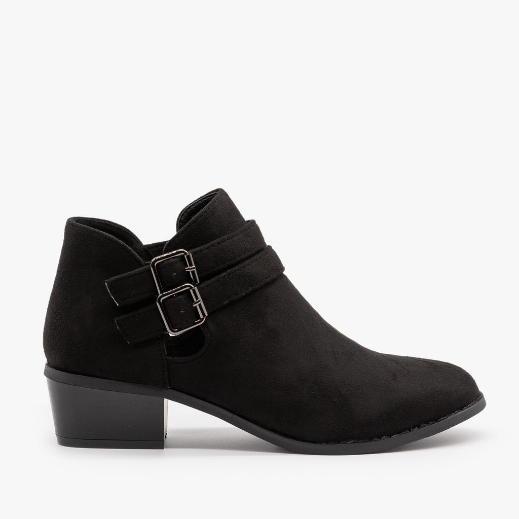 Womens Double Buckle Fall Booties - Soho Elite - Black / 5